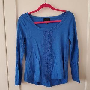 Cynthia Rowley bright blue cotton lace trim top